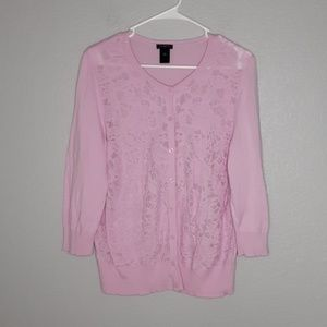 Ann Taylor Pink Lacefront Buttondown Cardigan